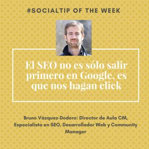 Imagen de Bruno Vázquez-Dodero dando consejo social media: El SEO no es sólo salir primero en Google, es que nos hagan click