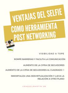Infografía sobre las ventajas del selfie en la estrategia networking